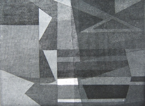 "Configuration III - Working State, 9"" x 12"", Soft ground aquatint, 2 - 5, 1978, 1/5 SFCA collection."