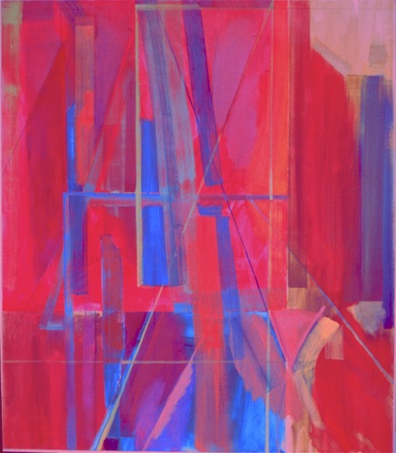 "Red Painting - Inside, Outside, 60"" x 54"", oil on canvas, 1979, private collection."