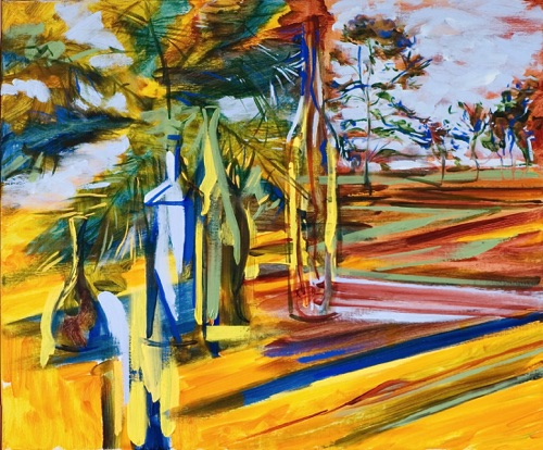 "Bottles, Palm Tree and Irish Landscapes, 30"" x 36"", oil on linen, 2010."