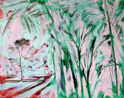 "Irish Landscape & Palm Trees, 48"" x 60"", oil on linen, 2011."