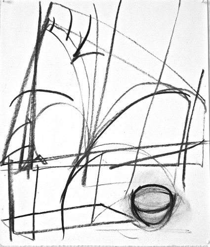 "Palm Trees, Irish Landscape & Still Life Drawing II, 14 7/8"" x 12 5/8"", charcoal on paper, 2010."