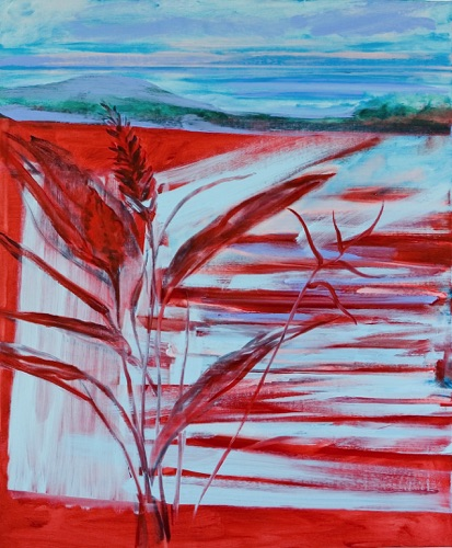 "Red Ginger, Vista & Irish Landscape, 48"" x 40"", oil on linen, 2011."