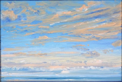"Clouds Moving From North - Sunrise, 12"" x 18"", oil on linen, 2006."