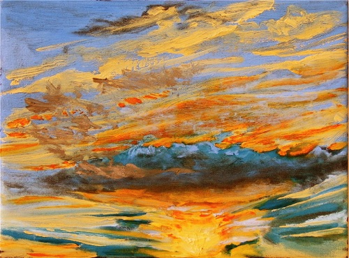 "Exploding Sun, Heavy Cloud, 9"" x 12"", oil on linen, 2006,  private collection."