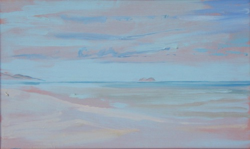 "Lanikai from Waimanalo Beach Park, 12"" x 20"", oil on linen, 2006."