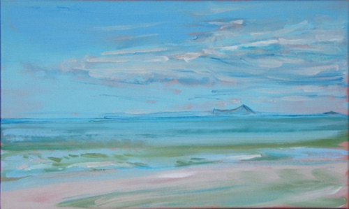 "Makapuu from Waimanalo Beach, 12"" x 20"", oil on linen, 2006, WCC collection."