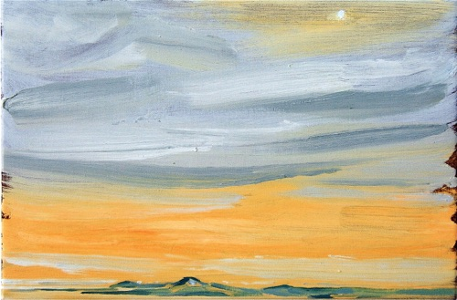 "Overcast Sky with Blue Sun - Sunrise, 12"" x 18"", oil on linen, 2006."
