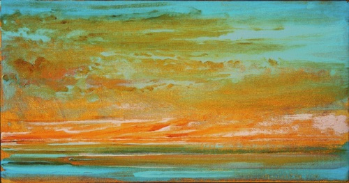 "Glowing Sunset, 8"" x 16"", oil on linen, 2001, private collection."