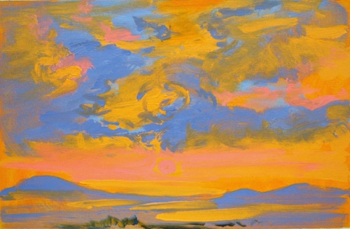 "Sunrise II, 11"" x 17"", acrylic on canvas, 2011."