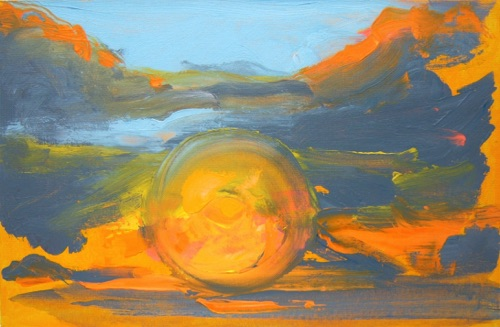 "Sunrise III, 11"" x  17"", acrylic on canvas, 2011."