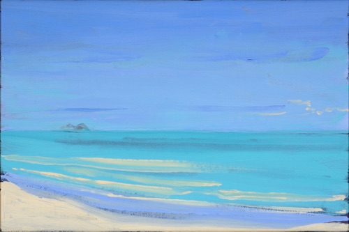 "Waimanalo Beach Looking Towards Lanikai, 16"" x 24"", oil on linen, 2007, private collection."