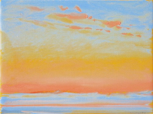 "Yellow Glow - Sunrise, 9"" x 12"", oil on linen, 2006, private collection."